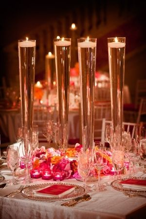 Rent Tall Pilsner Vases Fill With Water And Floating Candle For