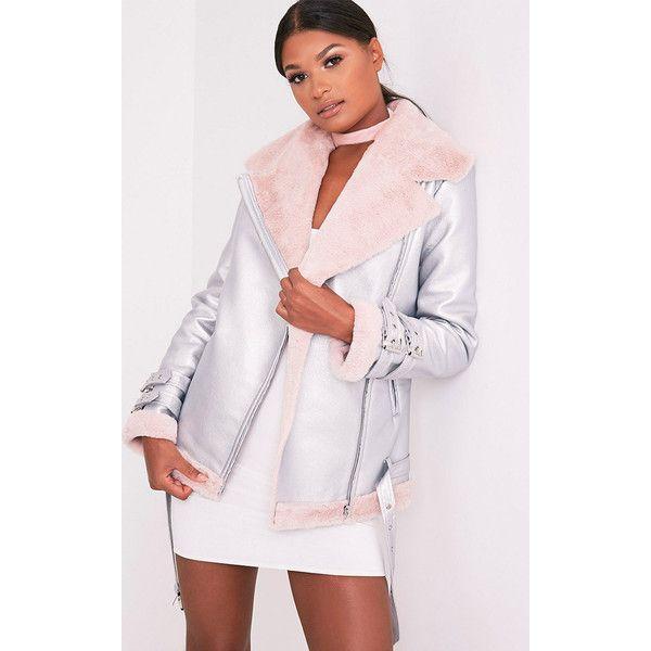 fb8054fe3 Liane Metallic Silver Faux Fur Lined Aviator Jacket ($31) ❤ liked ...