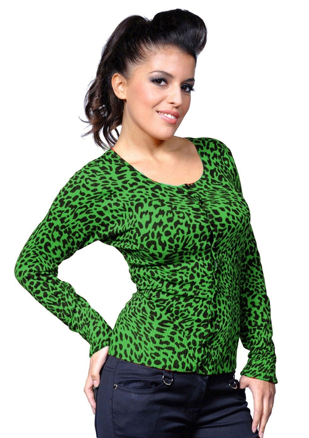 LaFrock's Retro style Green Leopard Print Cardigan - Fashion and ...