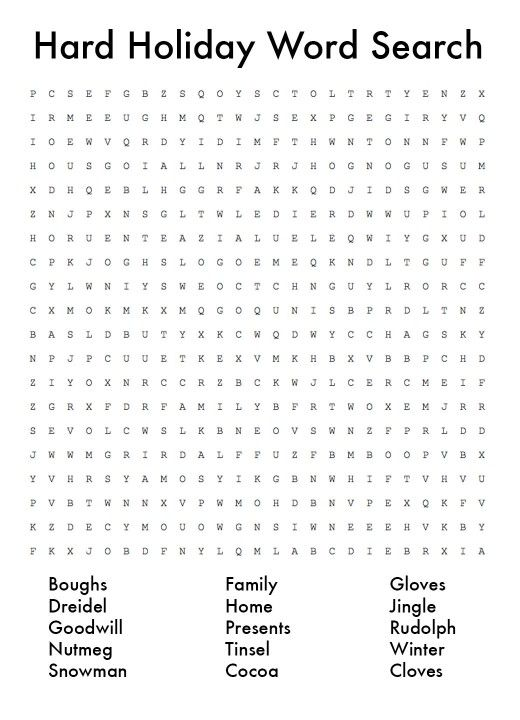 Christmas Word Puzzle Word Search Printables Holiday Words