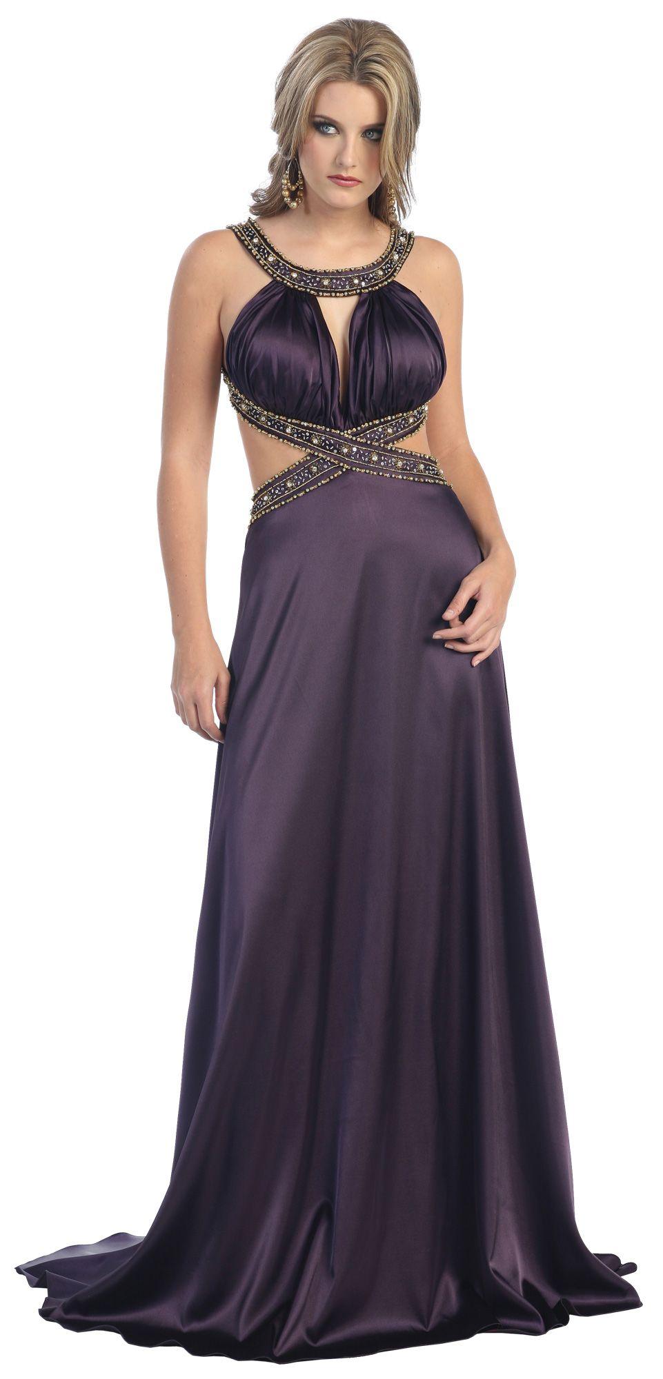 ddac330f80 Rhinestone Strap Open Back Long Prom Dress Plum Open Sides Formal Evening  Gown