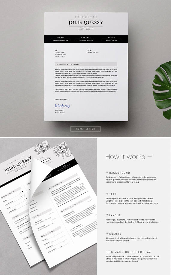 Feminine Resume Stylish Template Cover Letter For MS Word Fashion Design Flora