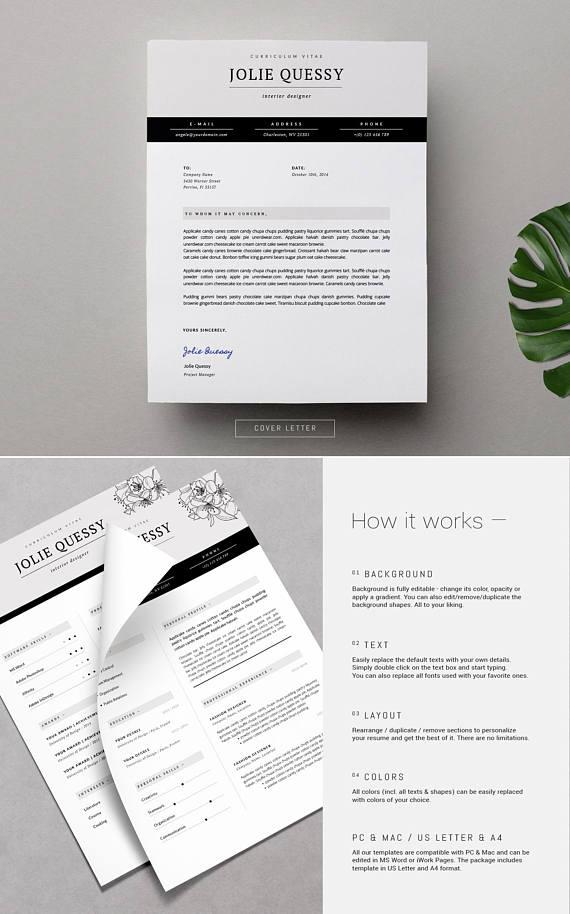 Feminine Resume _ Stylish Resume Template + Cover Letter for MS Word ...
