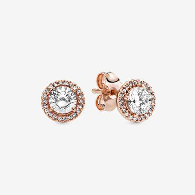 Classic Elegance Stud Earrings In Pandora Rose Clear Cz In 2020 Halo Earrings Studs Pandora Earrings Stud Earrings