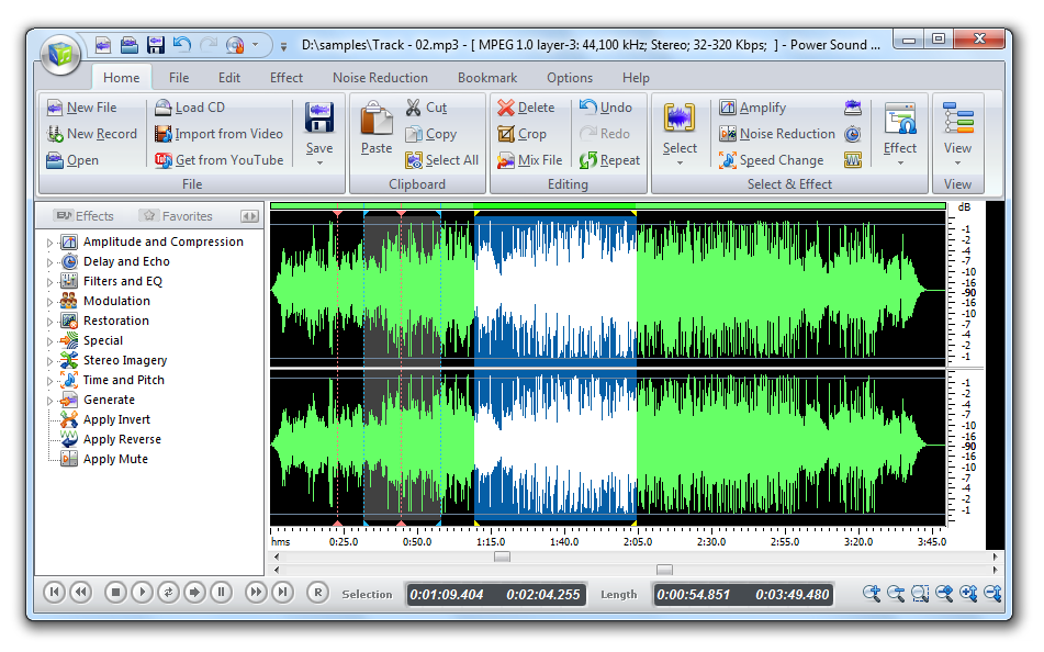 Power Sound Editor Free is a visual audio editing and