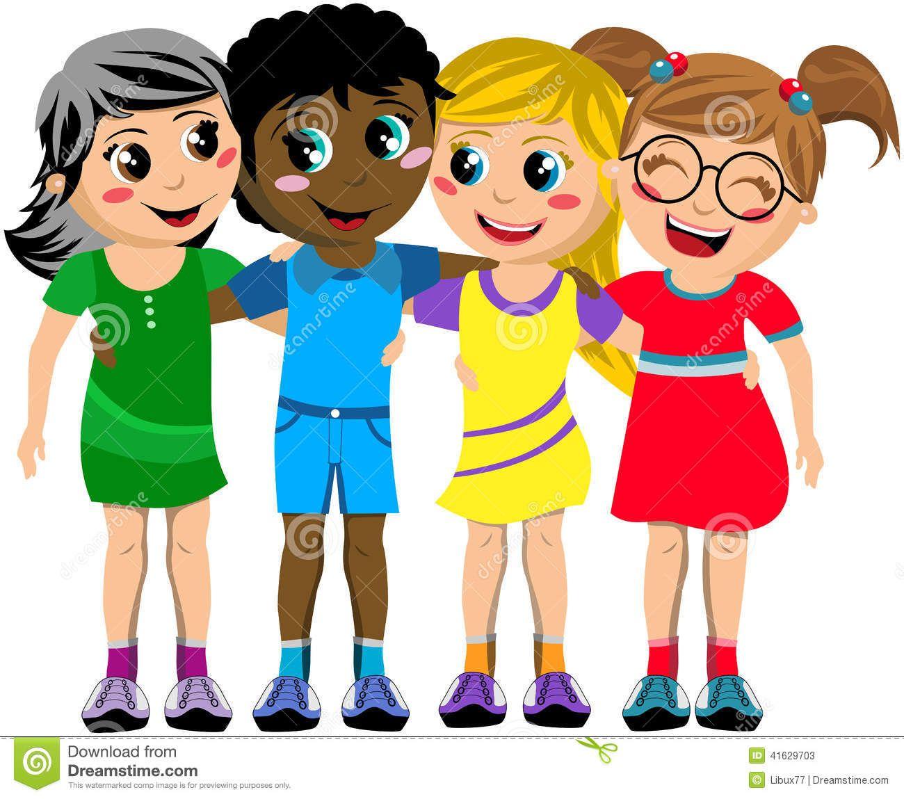 Hugging Children Clipart Group Happy Children Kid Hug ...