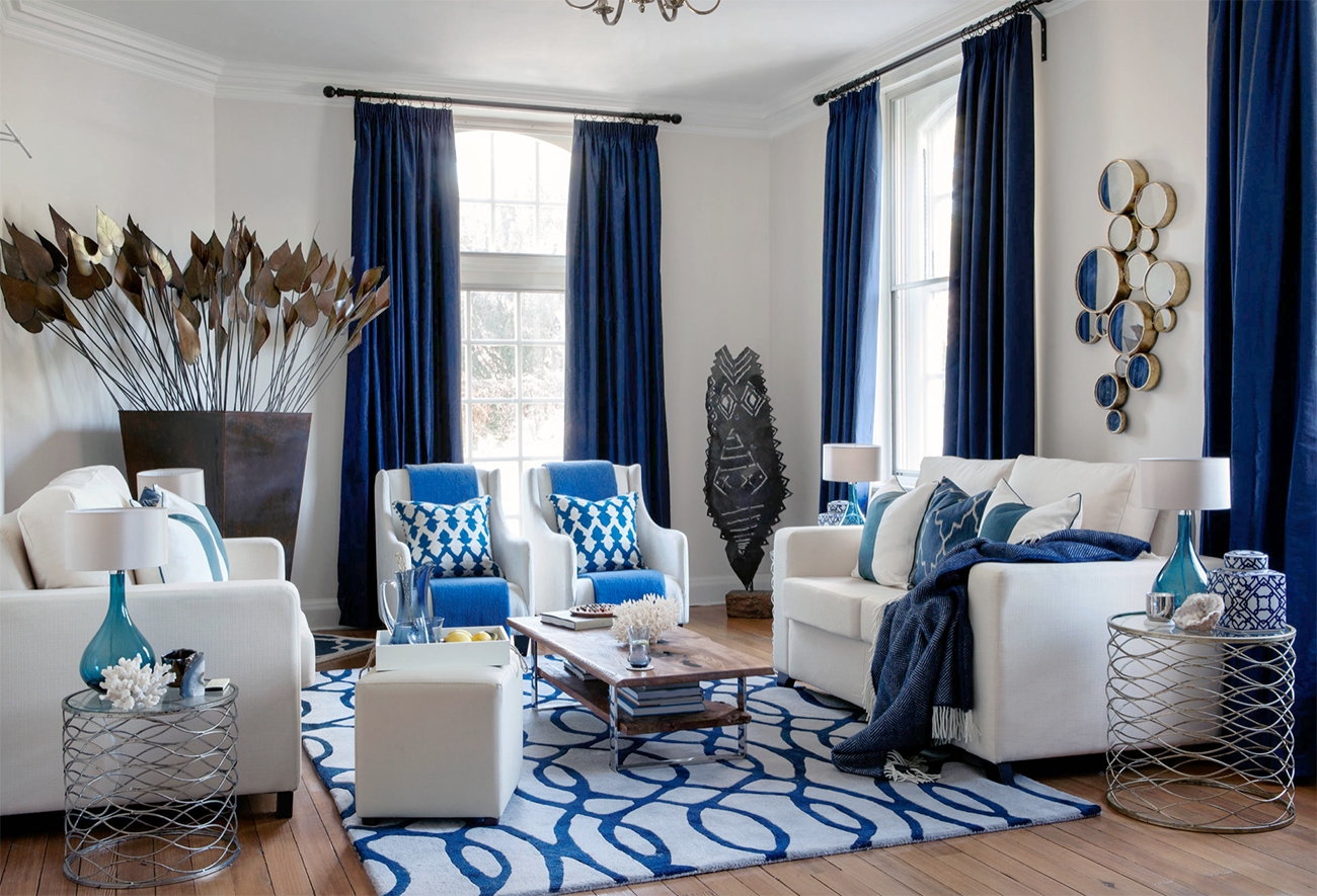 Amazing White And Blue Living Room Decor With White Restoration Hardware Style Shel Blue Living Room Decor Blue Curtains Living Room Blue And White Living Room