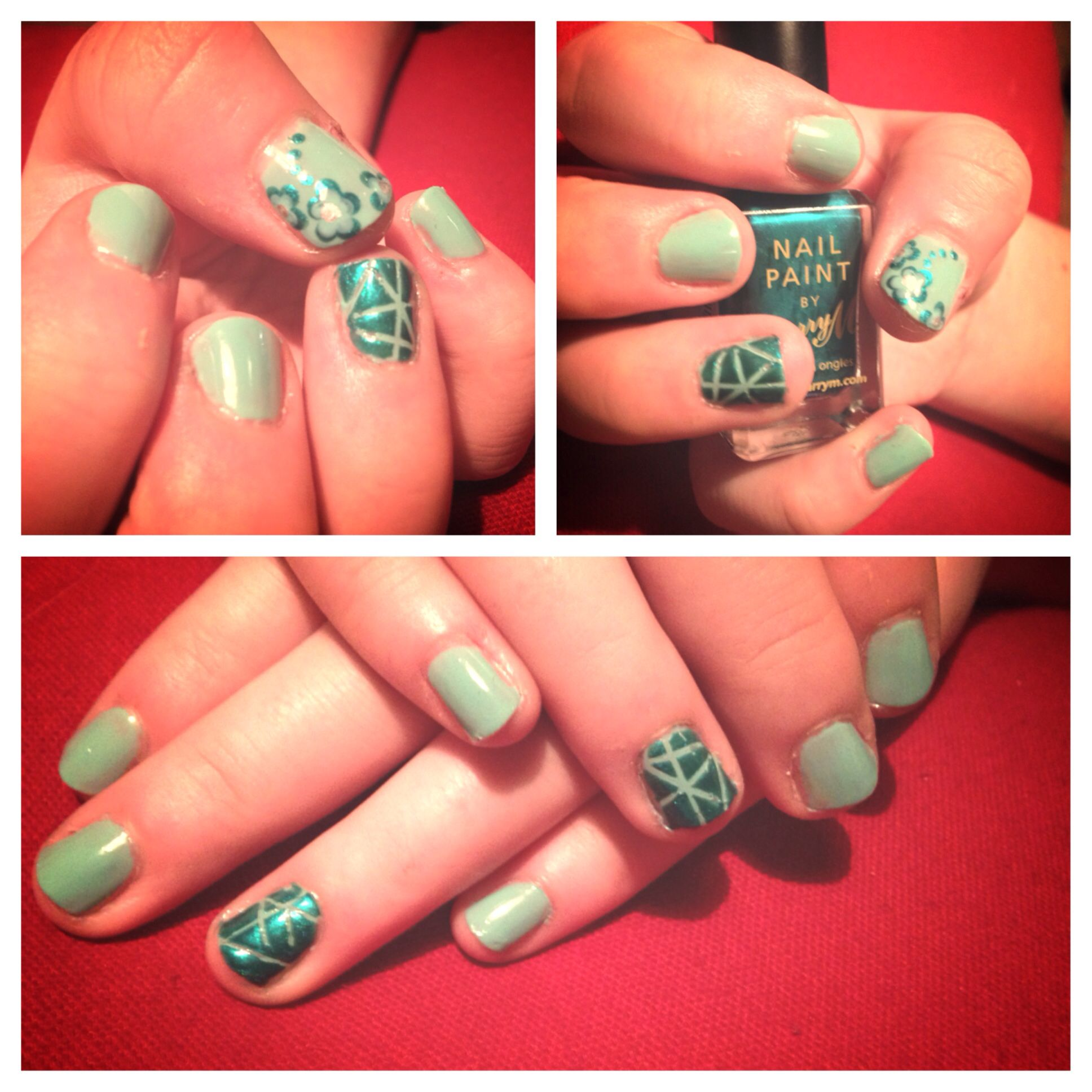 Nail art. Barry m. Nails. Teal. Mint. Green. Flowers.
