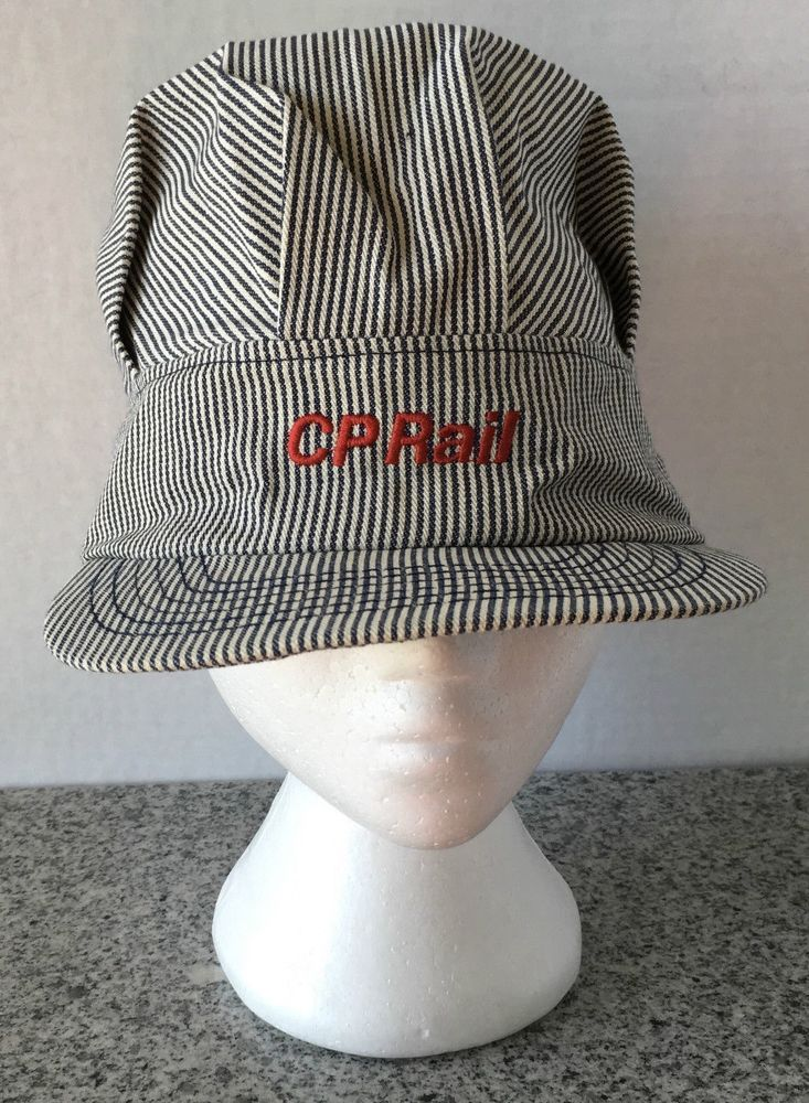 8a3c2276 Canadian Pacific CP Rail Striped High Hat Train Engineer Cap Snap Back