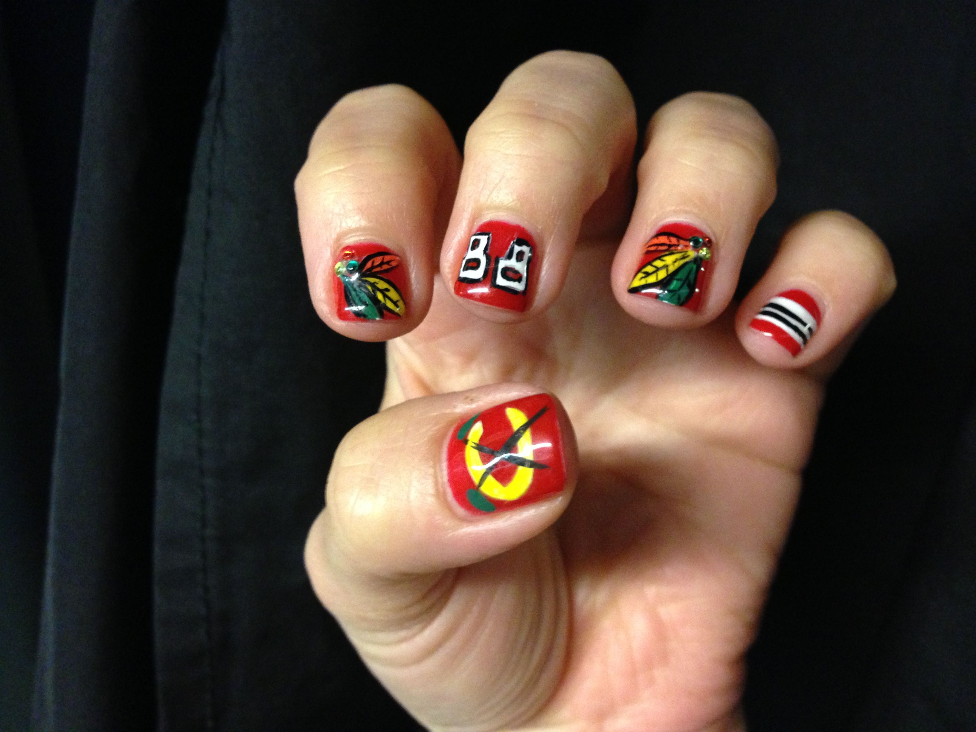 Amazing Blackhawks Nails Done By Blanca At Blueberry Moon Salon And