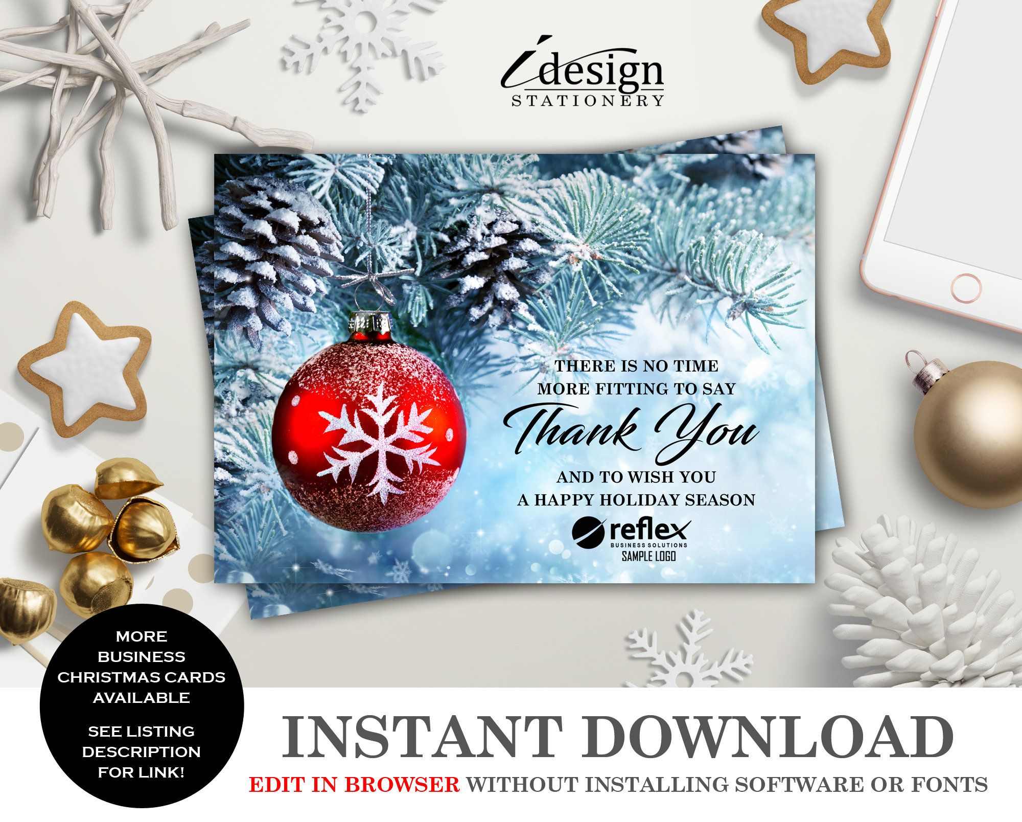 Corporate Christmas Card With Logo Business Holiday Thank You Cards Instant Down Business Christmas Cards Corporate Holiday Cards Corporate Christmas Cards