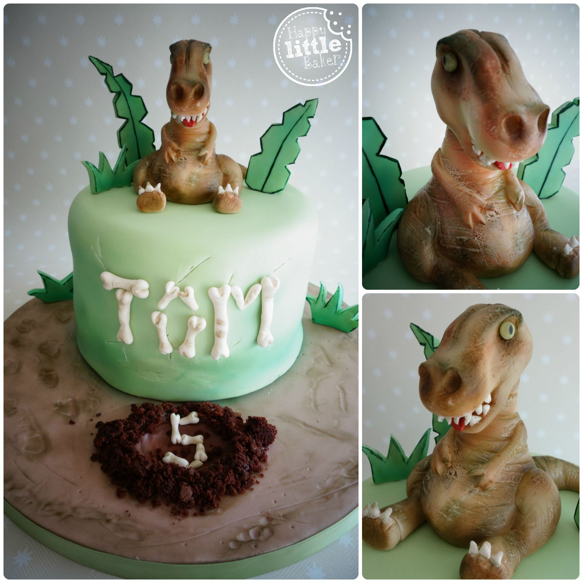 TRex Dinosaur themed birthday cake All decorations crafted from
