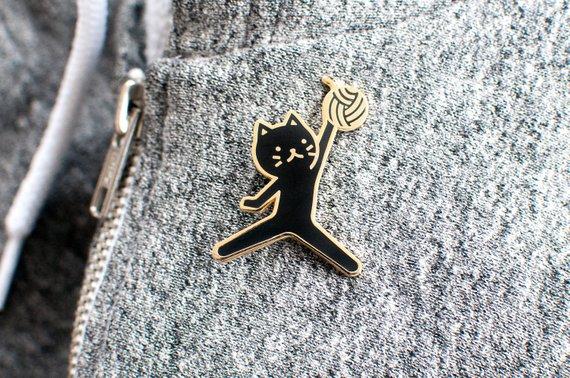 511336d4938a Jumpcat Enamel Lapel Pin    black   gold   basketball   jumpman   sports    yarn ball   cloisonne pin