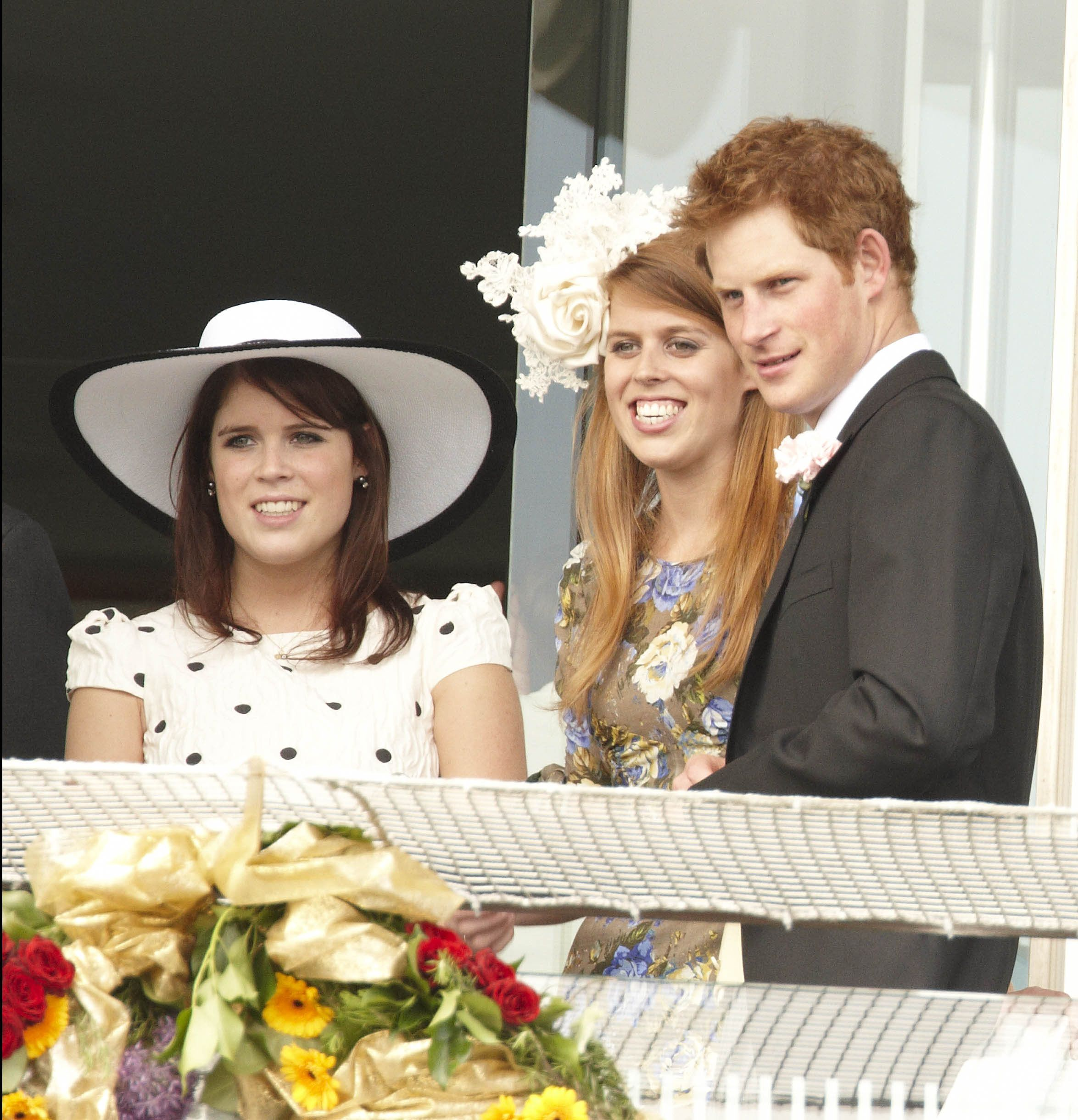 Princess Eugenie, Princess Beatrice and Prince Harry