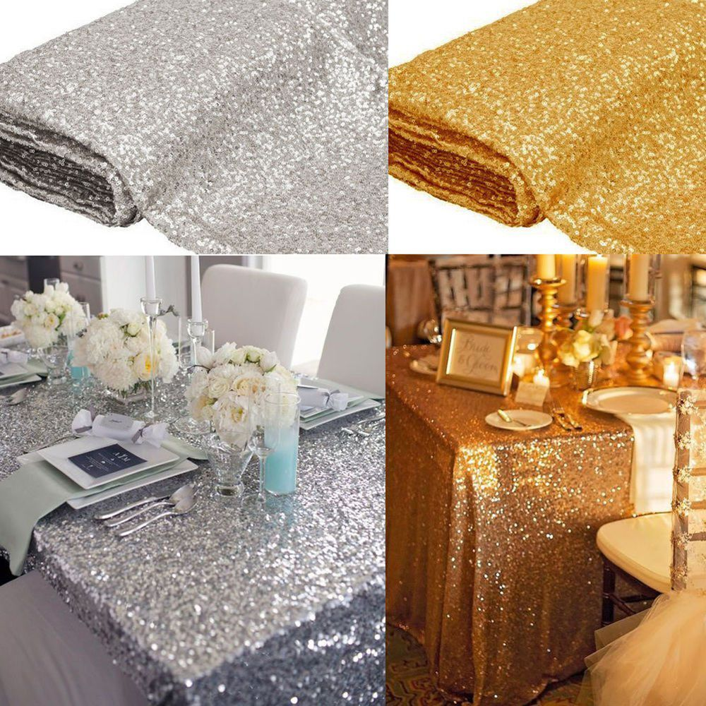 Rectangular Sequin Tablecloth Table Cloth Wedding Party Banquet Event  Decoration aa31d6a76362