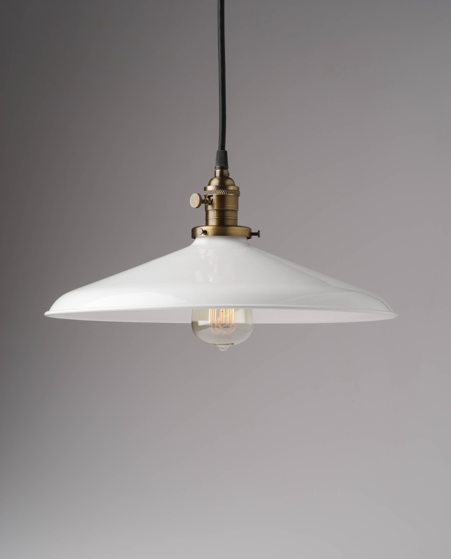 Metal porcelain enamel pendant light fixture
