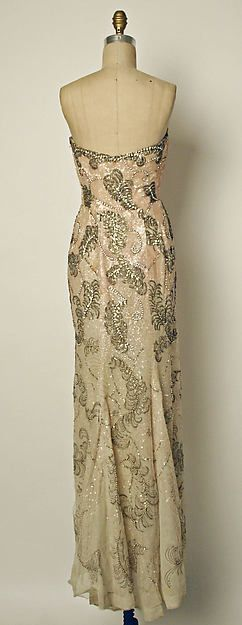 Sequined silk court presentation gown and stole, by Pierre Balmain, French, 1953.