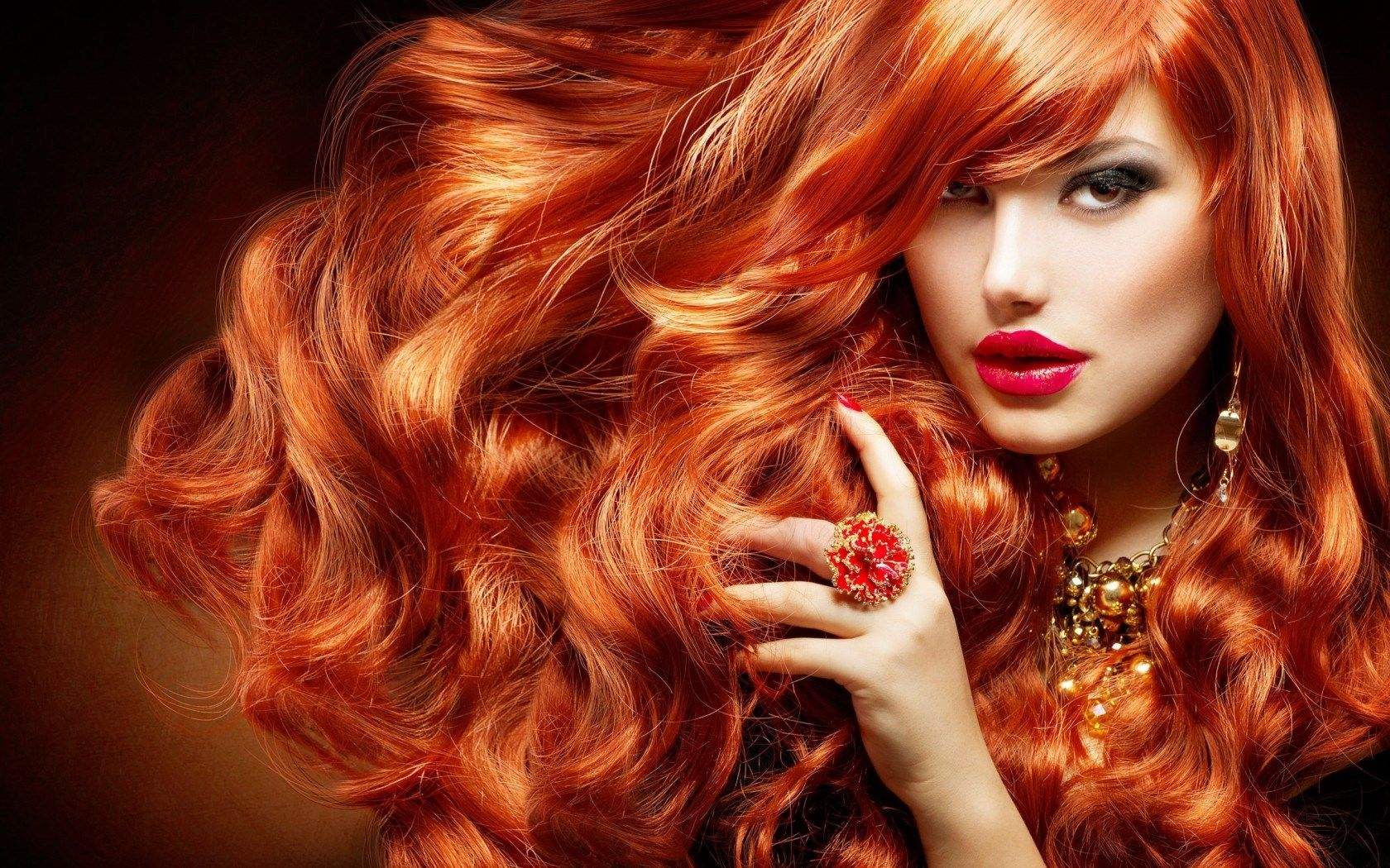 Fashion Earrings Redhead HD Wallpaper