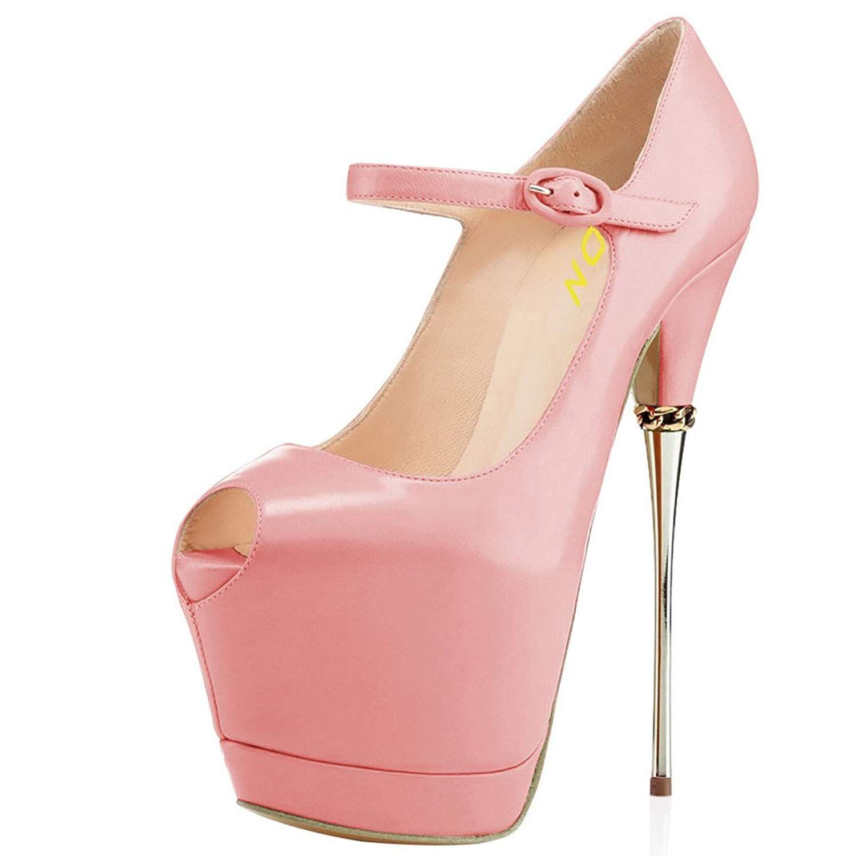 93618e9d285b YDN Women Peep Toe Sky High Heels Platform Pumps Ankle Straps Shoes Metal  Stilettos.Women s Shoes