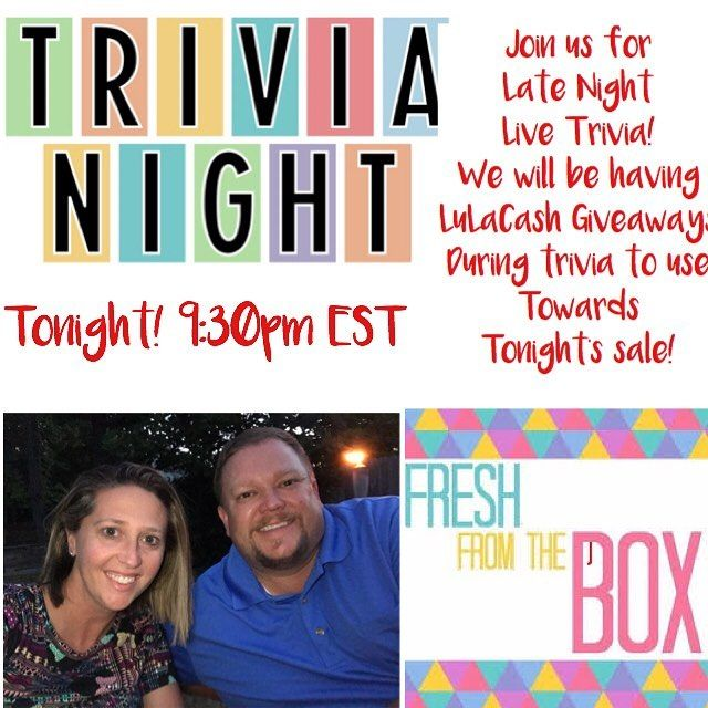 Who is up for Trivia shopping LuLaRoe and fun? Join me and my hubby tonight for late Night Live! Fresh from the box! Link in bio! Sizes 00-24. There is something for everyone. Amazing fall styles!