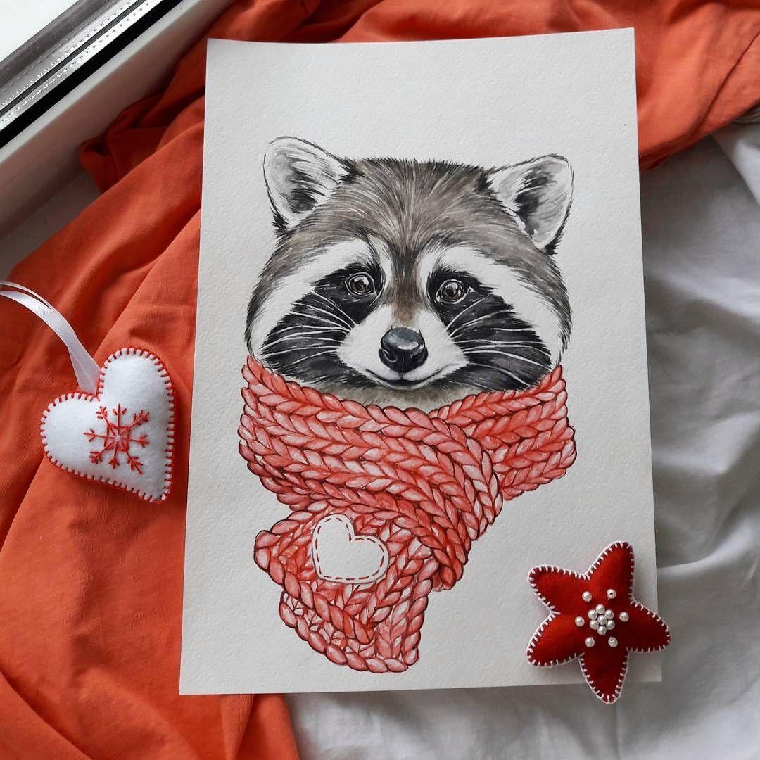 """🌿 GESCHENKE 🌿 KARTEN 🌿 ZUBEHÖR 🌿 auf Instagram: """"Süßer Winterwaschbär ^ - ^ wie immer Lieblingsstrickelemente ☕ wie geht es dir?) #Illustrator #illustration #artist #aquarell #winter #art # krsk ..."""""""