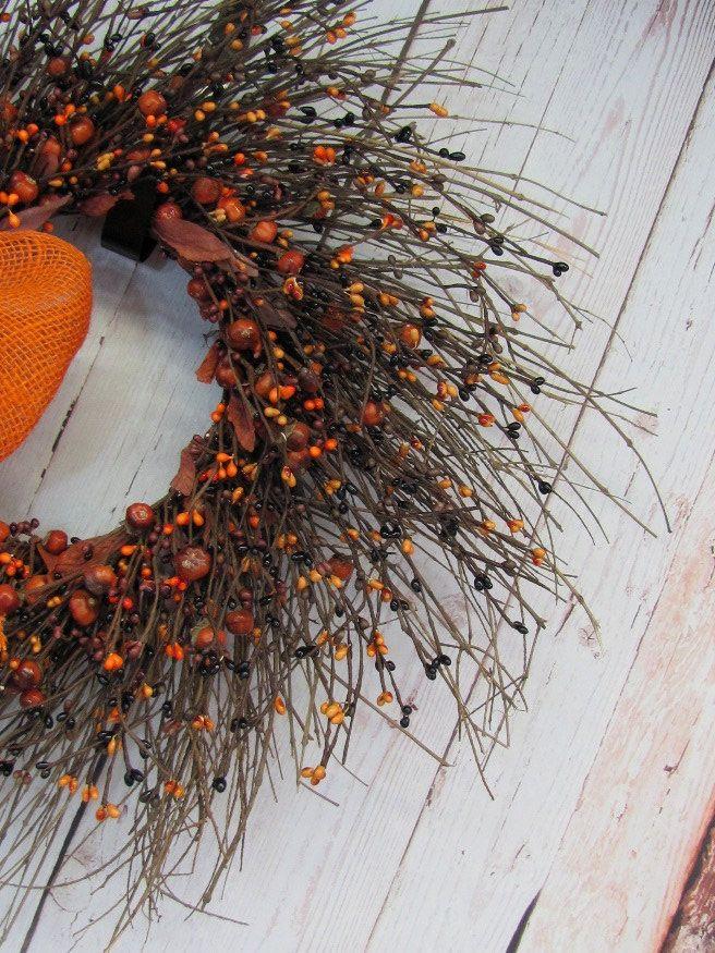 Primitive Fall Pumpkin Pip Berry Wreath  Burlap by Designawreath, $62.95