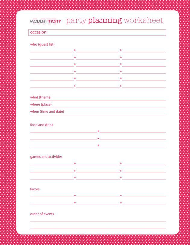 Worksheets Party Planning Worksheet party planning worksheet modernmom com perfectly printable com