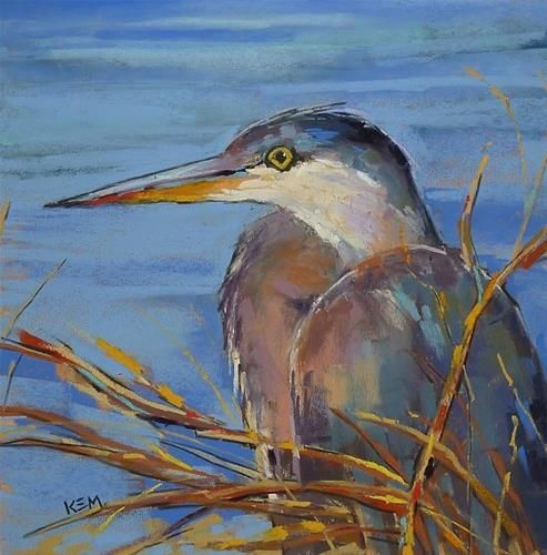 """First Steps in Painting a Bird ... Great Blue Heron Painting"" - Original Fine Art for Sale - © Karen Margulis"