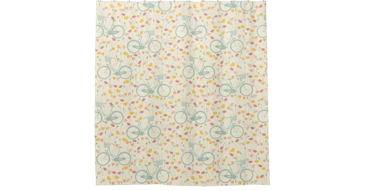 Red Yellow Flowers W Blue Bicycle Whimsical Shower Curtain