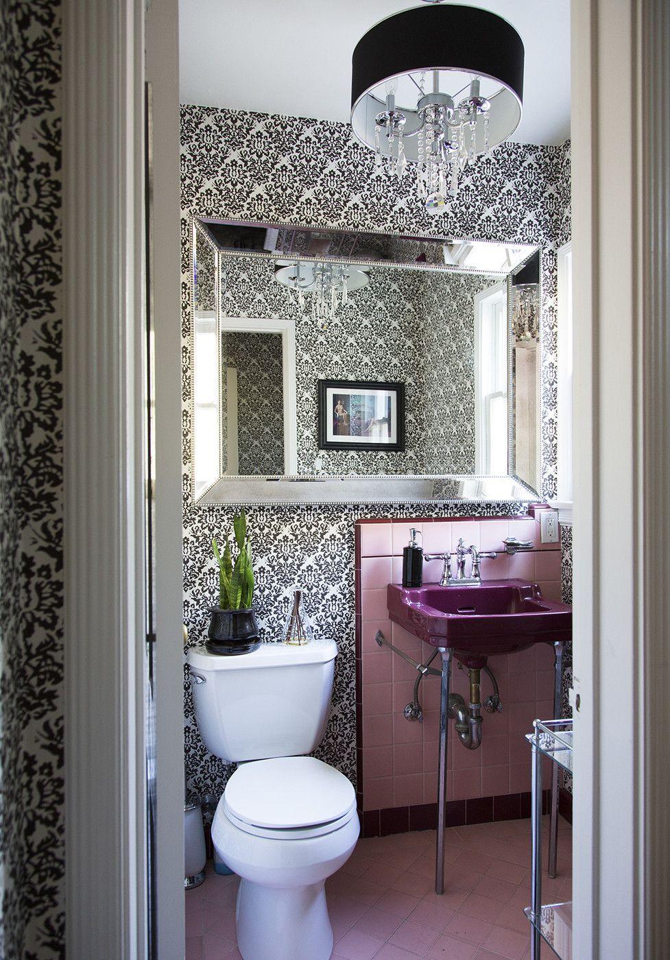 purple bathroom wallpaper