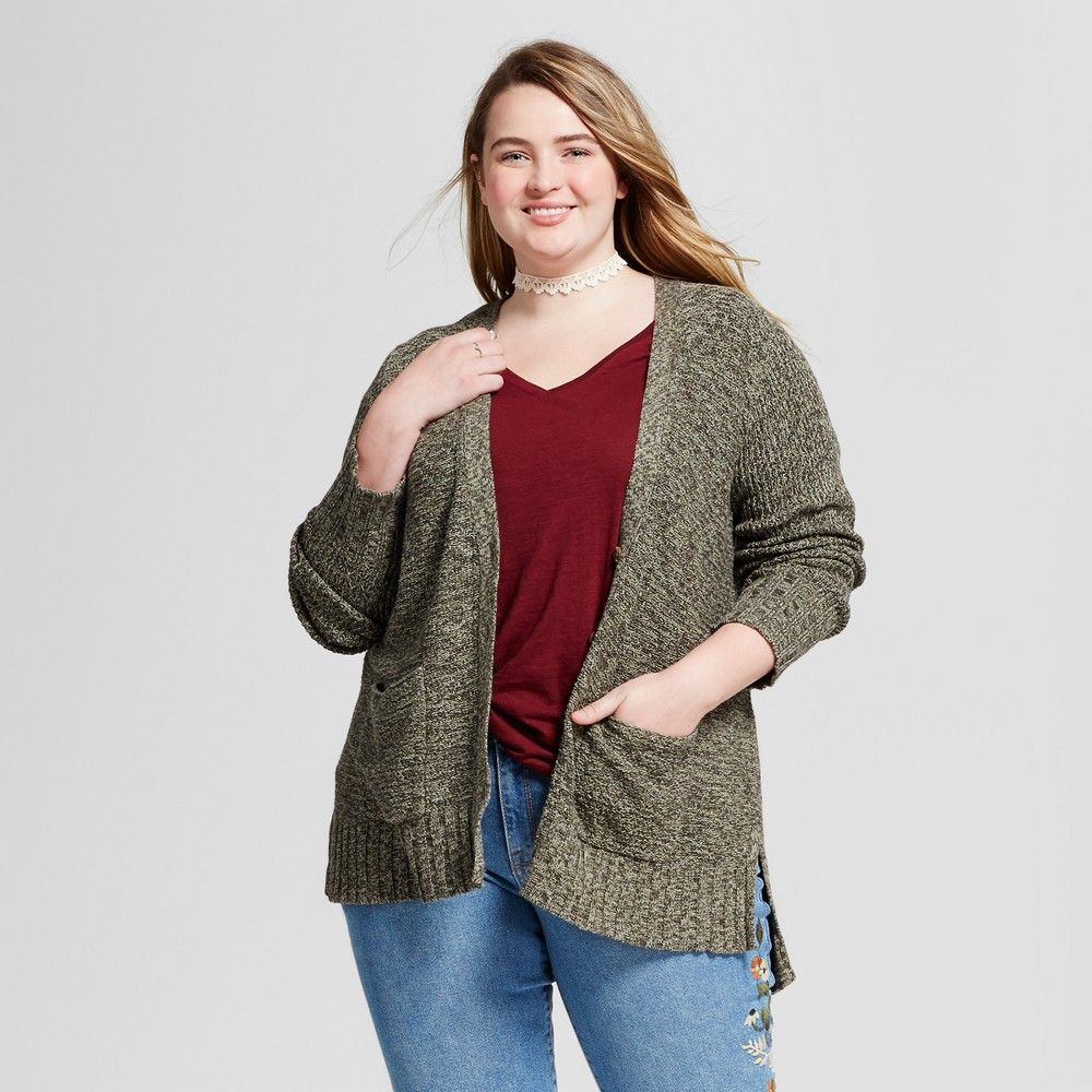 Women's Plus Size Boyfriend Cardigan - Mossimo Supply Co. Green 4X ...