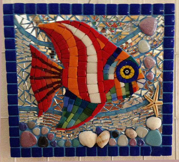 Mosaico peces en mosaiquismo pinterest mosaicos for Dibujos para mosaiquismo