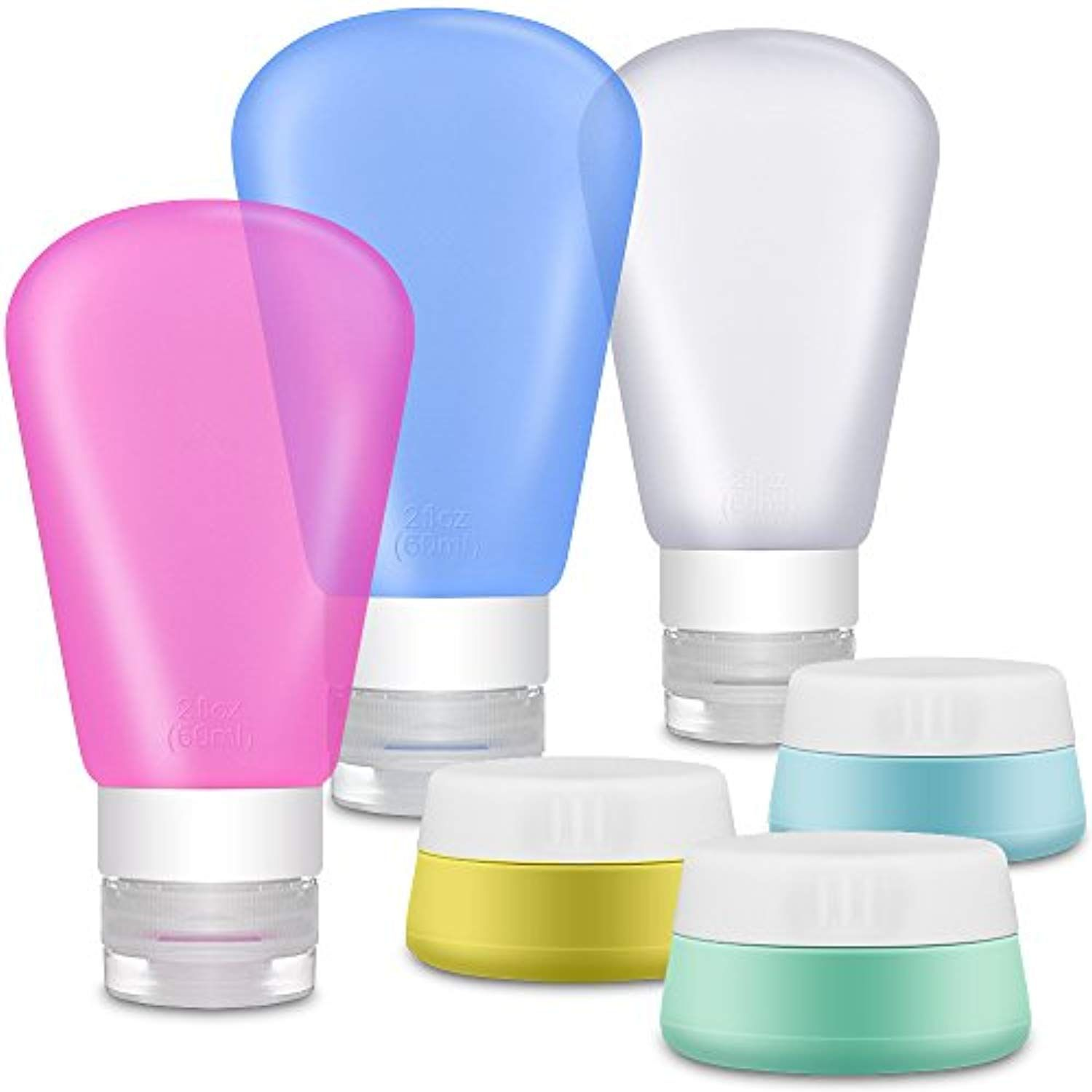 70e713f843c5 Portable Soft Silicone Travel Containers Set - IHUIXINHE 6 ...