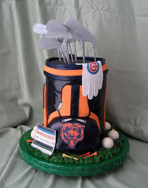 Golf Bag Cake Sporting Chicago Bears Team Colors And Logo With Cubs