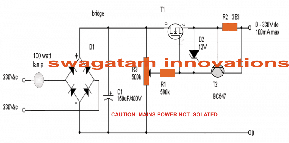 0 300v Adjustable Mosfet Transformerless Power Supply Circuit Homemade Circuit Projects Power Supply Circuit Circuit Projects Electrical Circuit Diagram