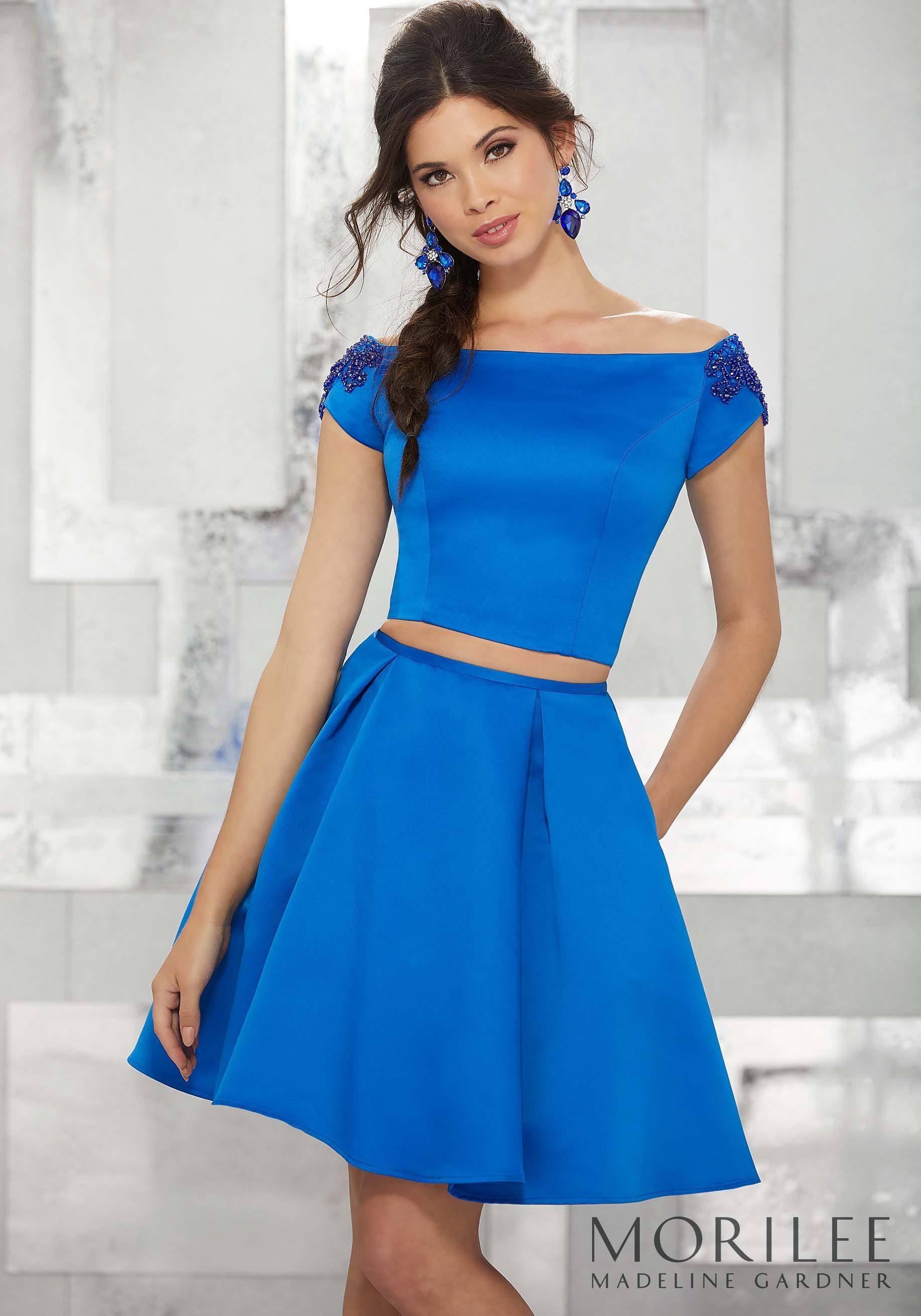 Blue Two Piece Satin Party Dress With Beaded Off The Shoulder Cap Sleeves Colors Available Royal Fuchsi Party Dress Party Dress Short 2 Piece Formal Dresses [ 2620 x 1834 Pixel ]