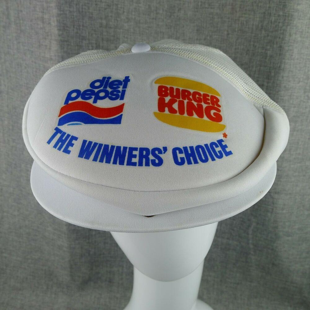 Vintage Burger King Diet Pepsi Snap Back Hat Flat Cap Polyester Mesh White Athleticheadwearltd Snapback Casual In 2020 Flat Cap Diet Pepsi Snap Backs