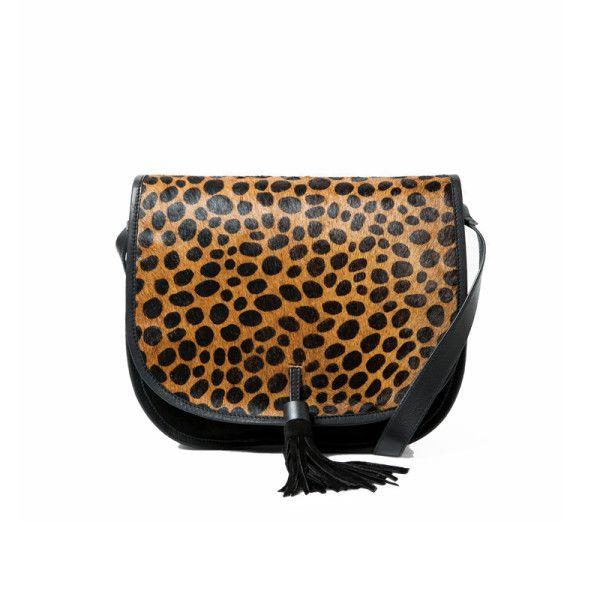 leopard print + fringe saddle bag
