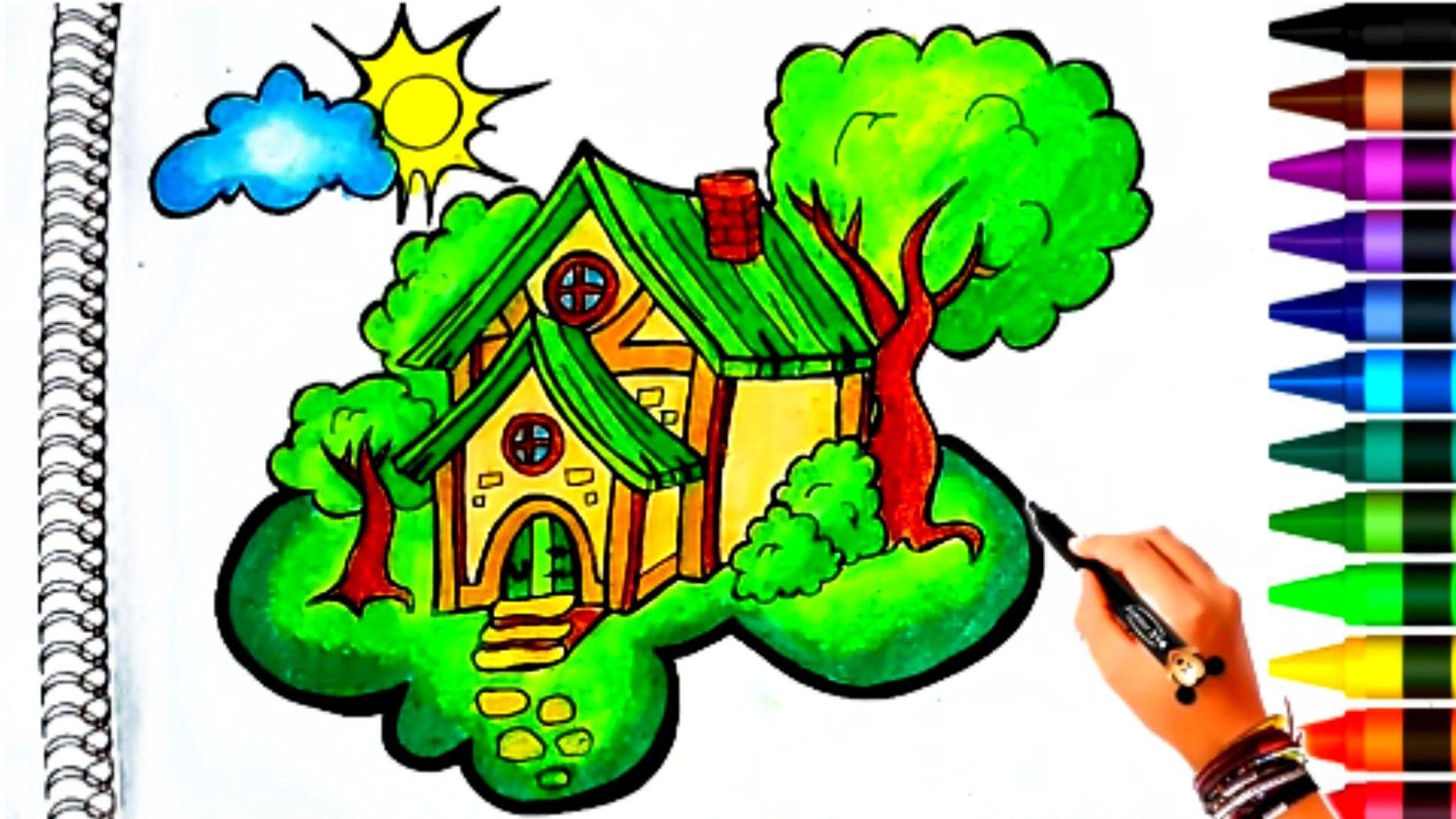 Menggambar Dan Mewarnai Rumah Menggunakan Crayon Gambar Warna Cara Menggambar