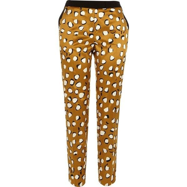 River Island Brown animal print cigarette pants (675 UYU) ❤ liked on Polyvore featuring pants, sale, cigarette pants, leopard print pants, brown trousers, shiny pants and leopard pants