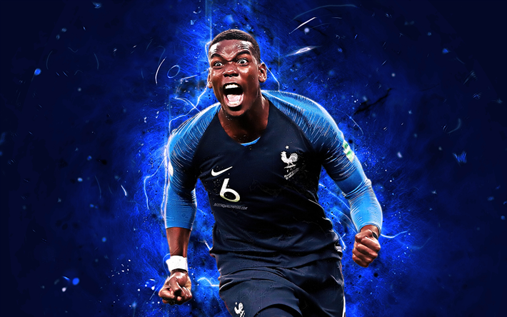 List of Awesome Manchester United Wallpapers Adidas Paul Pogba, goal, football stars, France National Team, fan art, Pogba, soccer, footballers, FFF, neon lights, French football team