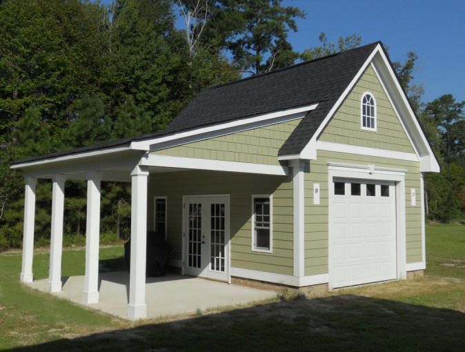 Garage with porch 18 39 x20 39 garage with hardi plank siding for Attached garage plans with living quarters