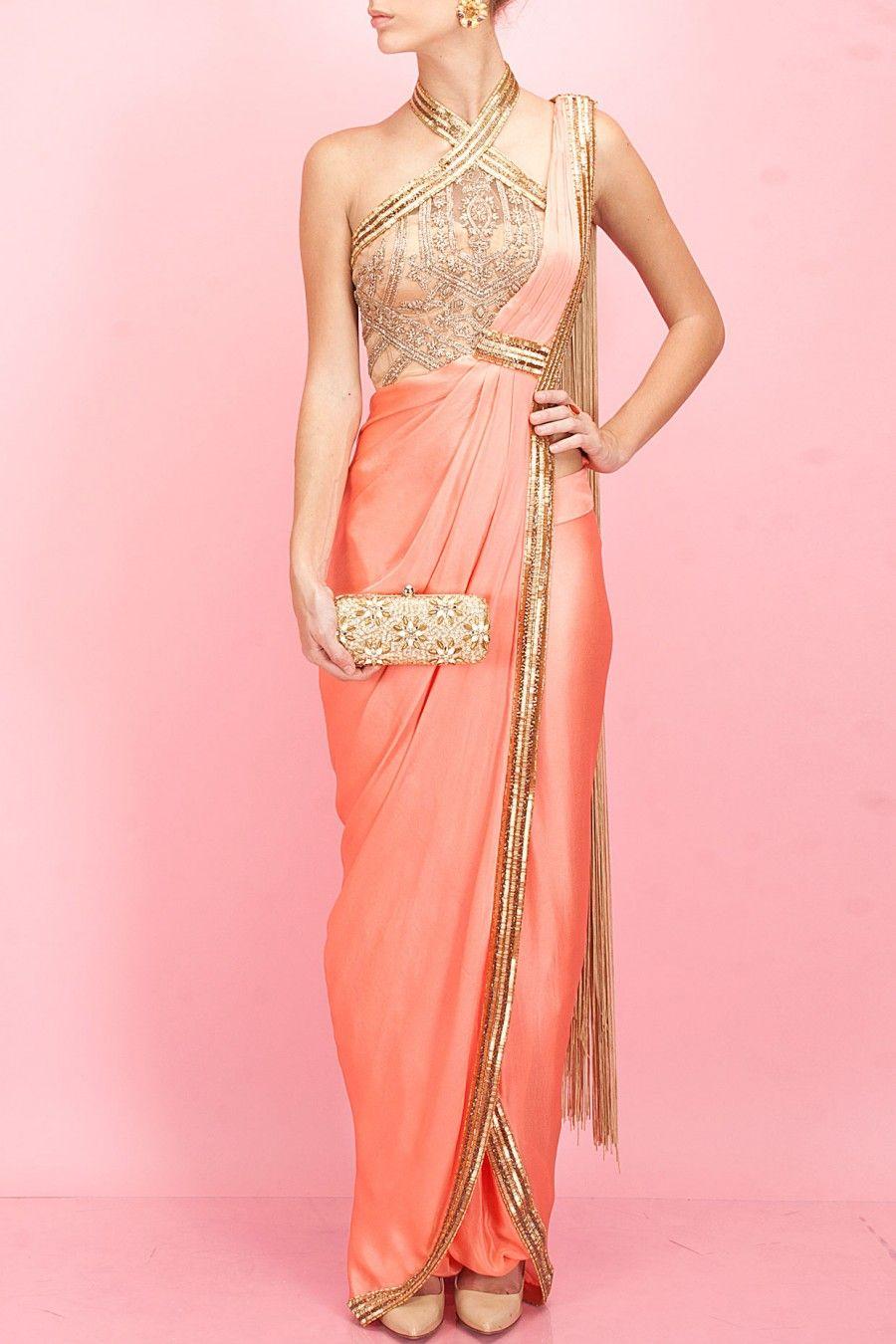 SONAAKSHI RAAJ Coral and gold egyptian embroidery pant-sari | Dress ...