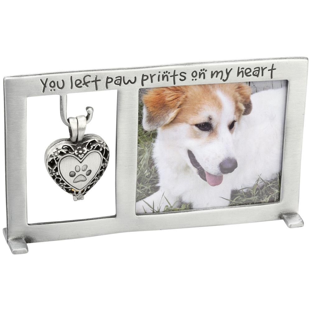 Paw Prints Memorial Frame & Heart Ashes Locket Set   Puppy Love ...