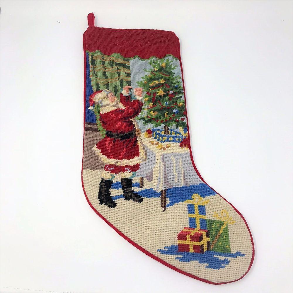 Lands End Needlepoint Christmas Stocking Santa Christmas