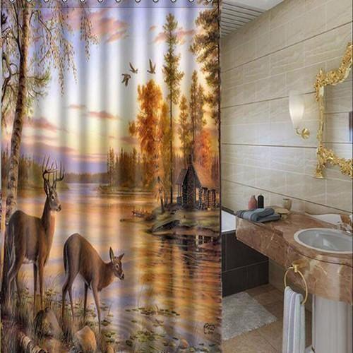 Wild Elk Bathroom Shower Curtain