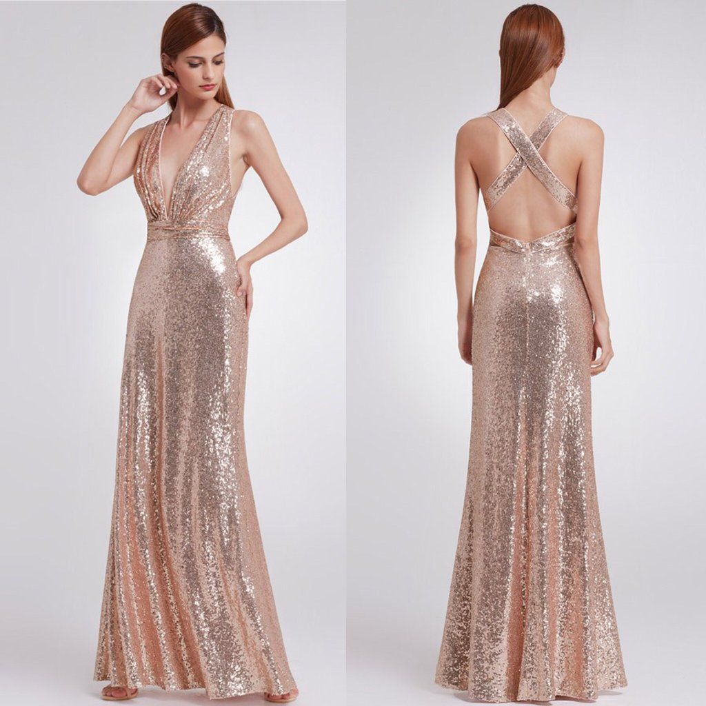 Grecian V Neck Sequin criss cross back long bridesmaid dress Rose ...