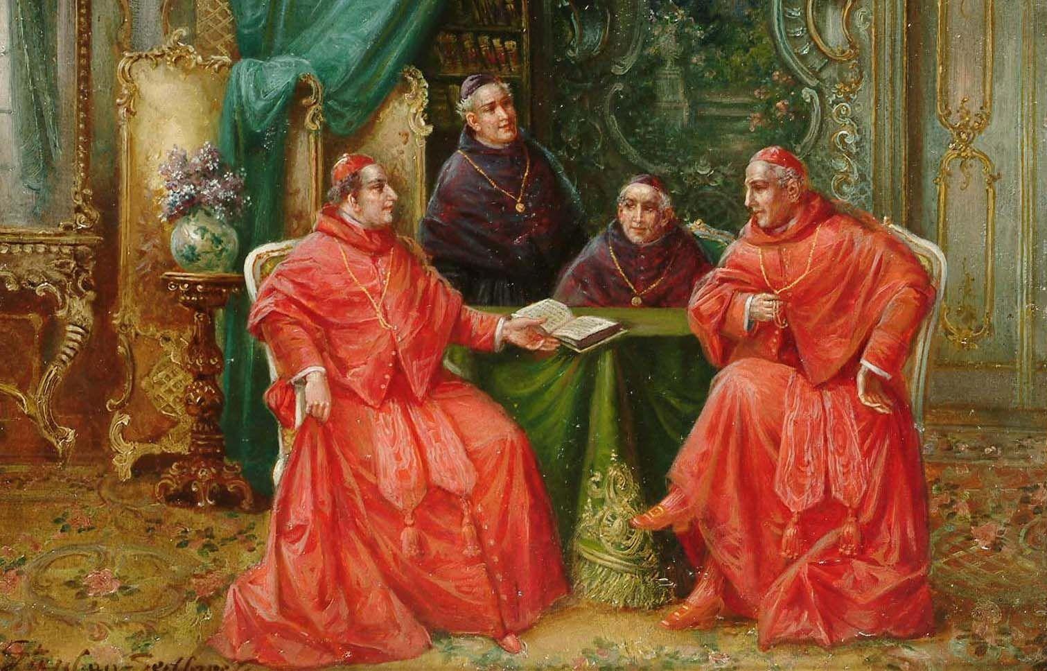 Genre barock  Stephan Sedlacek (1868-1936) — Cardinals in an interior (1511x968 ...