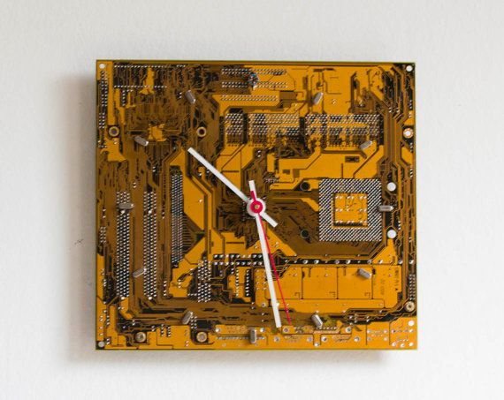 Geeky #Wallclock  recycled Computer  yellow circuit by ReComputing #upcycledcircuitboard #giftsformenguys