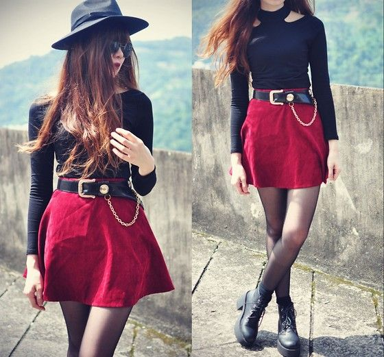 Chicwish Hat, Blaqmagik Top, Choies Skater Skirt